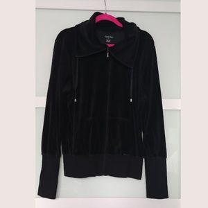 Calvin Klein Black Velour Zip-up Sweater